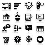 Website menu navigation black vector icons set