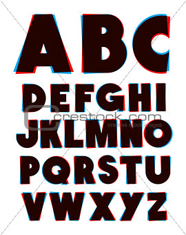 3d glasses effect alphabet font type. Vector alphabet