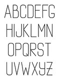 Light thin hand drawn font type. Vector alphabet