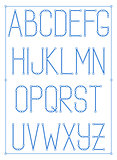 Light thin font type with nodes. Vector style alphabet