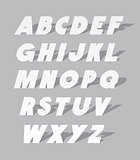 Cardboard or paper font type. Vector alphabet