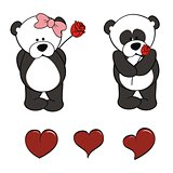 panda bear baby cute cartoon set