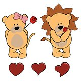 lion baby cute cartoon set