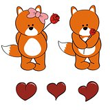 fox baby cute cartoon set