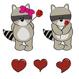 raccoon baby cute cartoon set