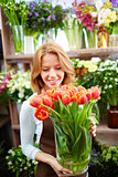 Florist with tulips