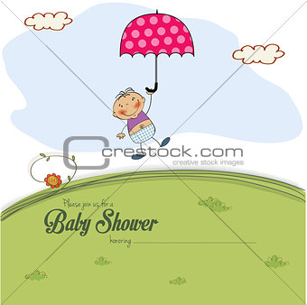 baby shower card with a boy who lands on a meadow