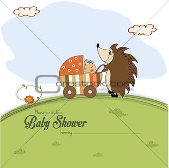 baby shower card with a hedgehog that pushes a stroller with bab