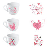 valentine day cup  designe set