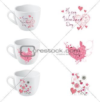 valentine day cup  designe set