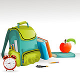 Vector school bag, books, pancil, apple and alarm clock
