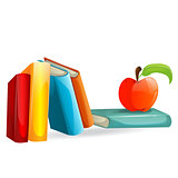 Vector books and an apple