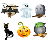 illustration of collection of Halloween icon set