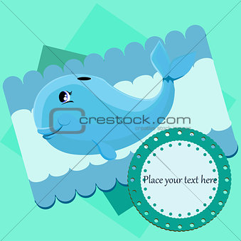 Card with a blue whale