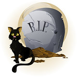 Halloween Cat on Tombstone