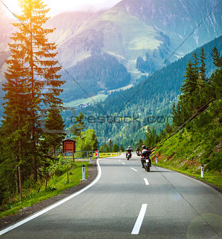 Group of bikers in Alps