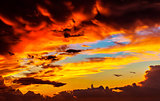 Amazing sunset sky background
