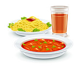 Set meal menu with soup pasta and juice drink