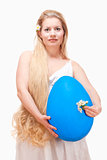 Young Woman with Long Blond Hair and Large Blue Egg.