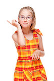 Little Girl with  Glasses Threatening with Finger