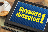 spyware alert on digital tablet
