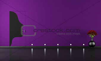 Doors flush with the wall in purple room