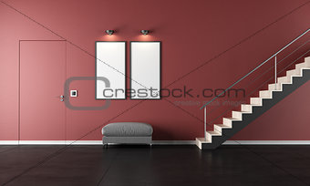 Contemporary living room with staircase