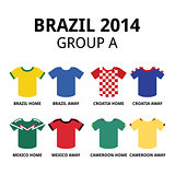 World Cup Brazil 2014 - group A teams football jerseys