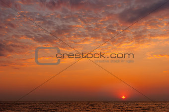 red purple sunset over the sea