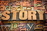 story word in wood type