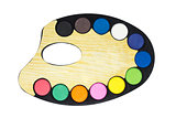 Plastic art palette with paint