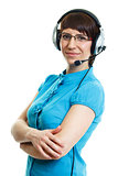 Beautiful young girl in headphones with a microphone. isolated o