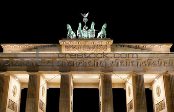 Brandenburg Gate detail at night, a former city gate