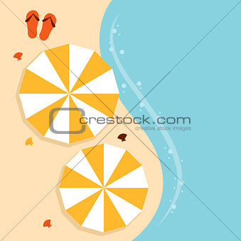 Beach summer background with umbrella