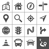 Route planning and transportation icons