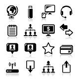 Web, internet simple black vector icons set