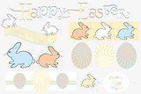 Happy easter design elements im retro look