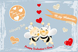 Cute bees in love - retro card
