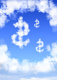 Dollar symbol from clouds