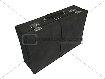 Black leather suitcase