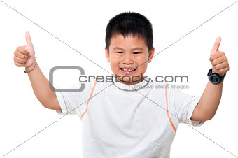 Asian boy thumbs up