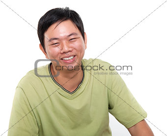 Asian male laughing