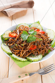Asian spicy fried noodles