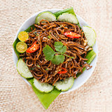 Delicious Asian spicy fried noodles