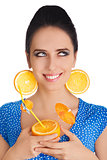 Girl with Orange Drink and Orange Slice Earrings White Background