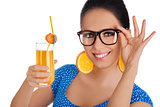 Smart Girl with Orange Juice and Orange Slice Earrings White Background