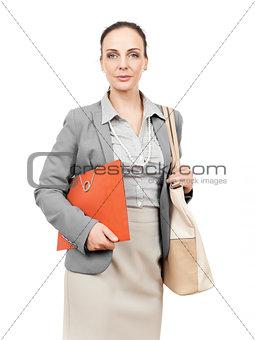 business woman with handbag and folder