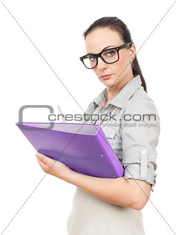 business woman with a purple folder