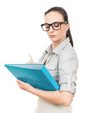 business woman with a turquoise folder