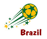 Flying brazil soccer or football ball